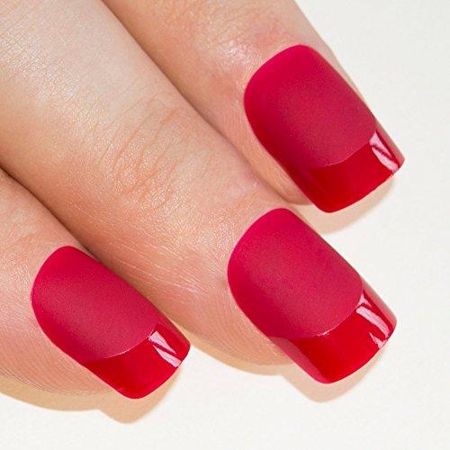 Art bling faux ongles manucure française mat Rouge Moyen Conseils UK