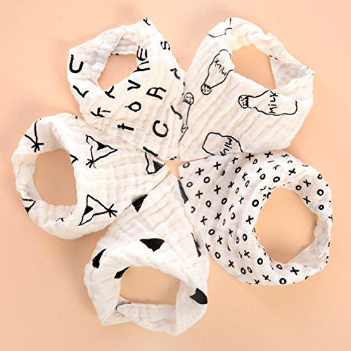 5Pcs Bavoir Bébé 100% Coton Super Absorbant Bavoir Bandana Garcon avec 2 Boucles Réglables Bavoir de Mode Protéger les Vêtement des Bébés Fille et Garçon Shock