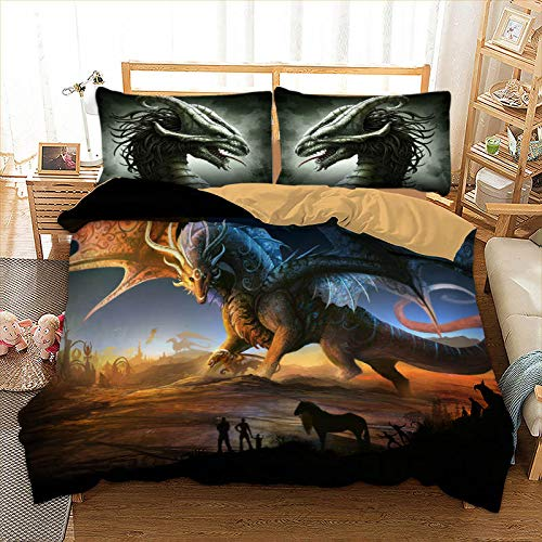 JSDJSUIT Bettwäsche gesetzt 3D Dinosaurier Bettwäsche Set HD Druck Tier Bettbezug Bettlaken Voll Königin King Size 3 STÜCKE Bettwäsche Set-König 4 stücke - Königin Camouflage Blatt
