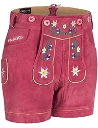 PAULGOS Damen Trachten Lederhose + Träger, Echtes Leder, Kurz in 8 Farben Gr. 34-50 M1
