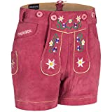 PAULGOS Damen Trachten Lederhose + Träger, Echtes Leder, Kurz in 8 Farben Gr. 34-50 M1, Damen Größe:50, Farbe:Pink