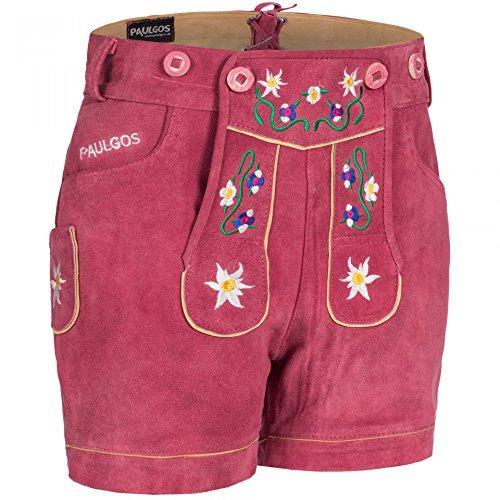 PAULGOS Damen Trachten Lederhose + Träger, Echtes Leder, Kurz in 8 Farben Gr. 34-50 M1, Damen Größe:36, Farbe:Pink