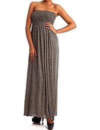 Young-Fashion Damen Maxikleid Hippie Bandeau Long Dress Strandkleid  Trägerlos Langes Kleid für Frühling und Sommer Jumper aus aus… e44265cd72