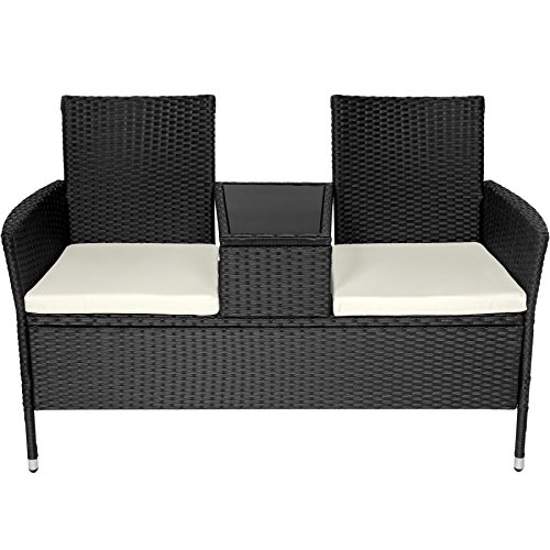 TecTake Sitzbank mit Tisch Poly Rattan Gartenbank Gartensofa inkl. Sitzkissen – diverse Farben – (Schwarz   Nr. 401547) - 3