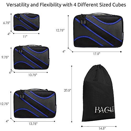 4 Set Verpackung Cubes, Reise-Gepäck-Verpackungs-Organizer mit Wäschesack Black black