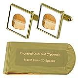 Baker Pane Gold-tone gemelli denaro inciso Clip Set regalo