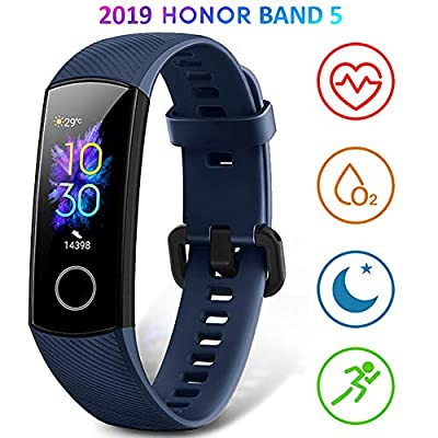 HONOR Band 5 Fitness Trackers HR, Activity Trackers Health Exercise Watch with Heart Rate and Sleep Monitor, Smart Band Calorie Counter, Step Counter, Pedometer Walking for Men Women and Kids Blue from HONOR