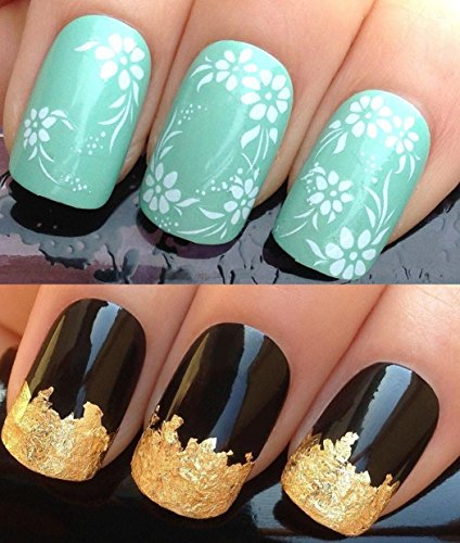 nail-decals-water-transfers-stickers-art-set-142-plus-a-large-gold-leaf-sheet-for-custom-designed-na