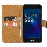 Ambaiyi Genuine Pelle Portafoglio Custodia Flip Case Cover per Asus Zenfone 3 Max ZC520TL 5.2 , Nero