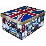 """XXL Dekokarton mit modernem Muster """"Flagge UK/ England"""" - Mit vielen verschiedenen England / LONDON Motiven, Tragegriffen und XXL Stauvolumen! Topp für jeden Haushalt oder als Geschenkbox."""