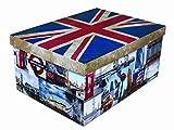 XXL Dekokarton mit modernem Muster Flagge UK/ England - Mit vielen verschiedenen England / LONDON Motiven, Tragegriffen und XXL Stauvolumen! Topp für jeden Haushalt oder als Geschenkbox.