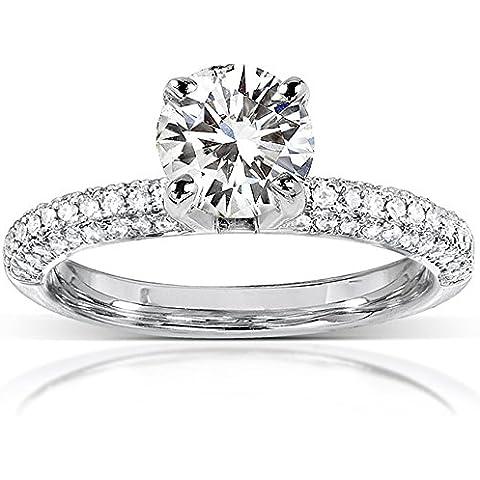 Moissanite & Micro, con pavé di diamanti Anello di fidanzamento in oro bianco 14 k (19 mm)