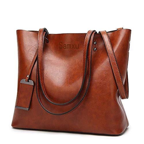 Damen Vintage Handtasche echtem Leder Shopper Schultertasche Umhängetasche Ledertasche (Braun)