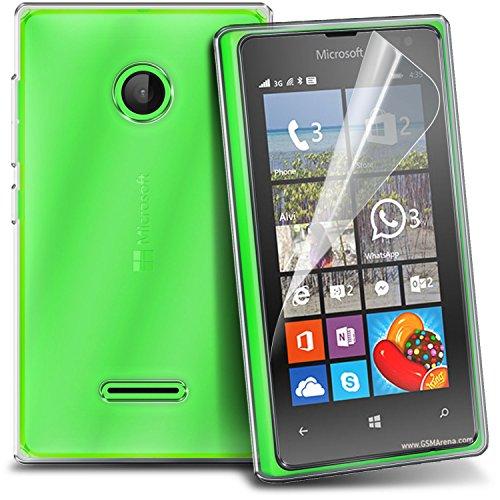 Fone-Case Apple Iphone 6.5.5 étui Brand New Luxury Cristal Clear Gel TPU Housse de la peau avec Protecteur d'écran LCD de la Garde, Chiffon Microsoft Lumia 435