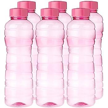 Princeware Victoria Plastic Pet Fridge Bottle Set, 975ml, Set of 6, Pink