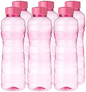 Princeware Victoria Plastic Pet Fridge Bottle Set, 975ml, Set of 6, Pink