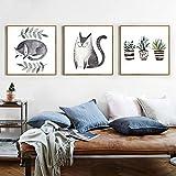 kingxqq Moderne Drucke Niedlichen Tiere Katze Topfpflanzen Bilder Wohnzimmer Dekor Wandgemälde Kunst Nordischen Stil Leinwand Mode Poster-50x50x3 Stücke cm Kein Rahmen