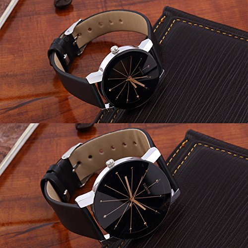 Codice New Designer Crystle Glass Round Shaped Black Dial Leather Belt Analogue Couple Watch- Latest Edition-Den-1