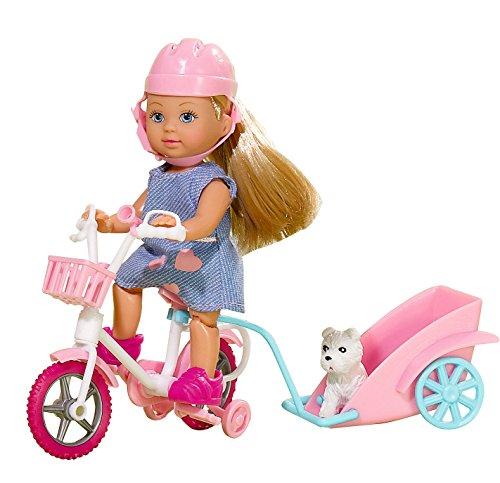 Smoby Toys- 105730783- Poupée Evi Love, Tour de Vélo avec son Chien - 2 Modèles Aléatoires 4006592507831