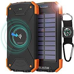 BLAVOR Cargador Solar Móvil 10000mAh Batería Externa Portátil Qi Power Bank Tipo C Puerto de Entrada Linterna Dual, Brújula, A Prueba de Salpicaduras, DC5V / 2.1A