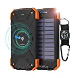 BLAVOR Wireless Solar Power Bank Charge Bank 10000mAh LED Light Waterproof Shockproof