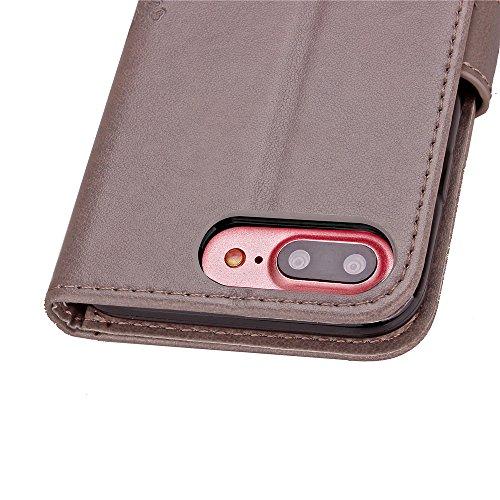 iPhone 7 Plus Hülle,Leder Hülle für iPhone 7 Plus,iPhone 7 Plus Schwarz Leder Handy Tasche Wallet Case [Heavy Duty] [Hinterbauständer Feature] Cover Etui für iPhone 7 Plus 5.5 Zoll 2016,EMAXELERS iPho A Clover 3