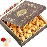 Ghasitaram Gifts Rakhi Gifts for Brothers Rakhi Dryfruits - Small Wooden Roasted Cashew Box with Red Pearl Rakhi