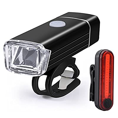 Fahrrad-Licht Led-Fahrradbeleuchtung, Sunnest Fahrradlichter Set USB Wiederaufladbare LED Fahrradlicht, Fahrradlampe Set inkl, LED Frontlicht und Rücklicht, USB Aufladbare Fahrradlichter