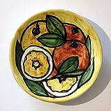 Naranjas y limones: plato de cerámica glaseado y decorado a mano, con un diámetro de 11,6 cm de alto 2,2 cm -MADE en ITALIA, Toscana, Lucca. Creado por Davide Pacini.