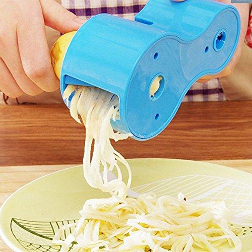 Spiralschneider für Gemüsespaghetti, Gurkenschneider mit Messerschärfer, Gurkenhobel für Gemüse, Gemüsehobel - Doppellochentwurf (blau)