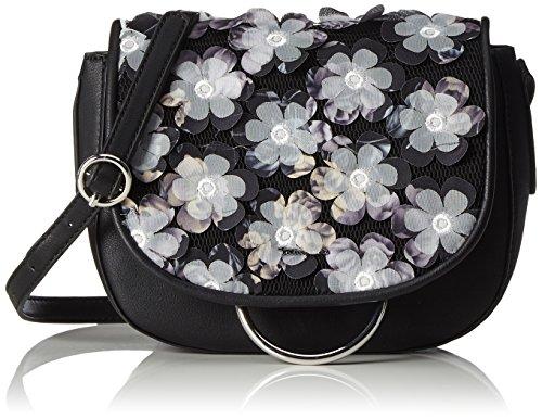 Tamaris Damen Gwen Saddle Bag Schultertasche, Mehrfarbig (Black/White), One Size -