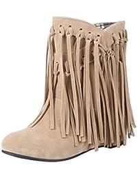 UH Damen Flache Sommerstiefeletten mit Schnürung und Schleife Cut Out Sandalen Bequeme Fashion Schuhe Q2yU3UF