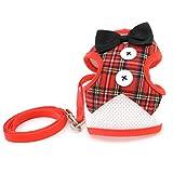 smalllee _ Lucky _ store Pet verstellbares Hundegeschirr Tuxedo Weste Leine-Set für kleine Hunde Katze weichem Mesh-gepolsterte