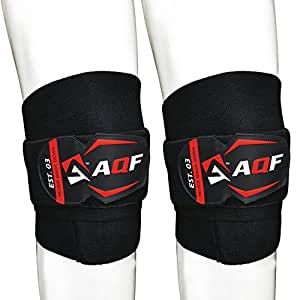 """AQF Knee Wraps Weight Lifting Bandage Straps Guard Pads Powerlifting MultiColour (Black 78"""")"""