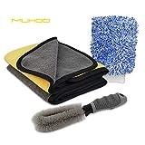 MUHOO Panni in Microfibra per Pulizia Auto, 600 gsm, Panno Asciutto + Spazzola per Cerchioni + Guanto per Lavaggio Auto