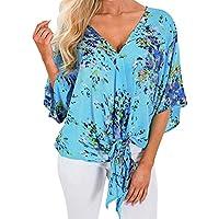 Damen Tops, Geili Frauen Aufflackernhülse Sexy V-Ausschnitt Bandage Krawatte Knoten Bluse Damenmode Print T-Shirt... preisvergleich bei billige-tabletten.eu