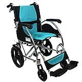 #10: KosmoCare Stylex Premium Imported Ultra lightweight Transporter Wheelchair With Seat Belt -Crest Series-Light Blue
