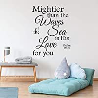 wangpdp Wall Decal Psalm 93 4 Mighty than the Waves of the Sea Bible Verse Wall Art Quote Vinyl Sticker Bedroom Home Decor 57x77cm