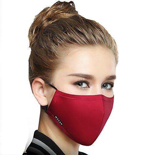 Preisvergleich Produktbild 1Stück Baumwolle Mund Maske Anti-Staub Reinigungstuch Maske Atemschutzmaske mit 6Filter Tuch Anti Staub Schwarz Maske erhältlich, Frauen Rot