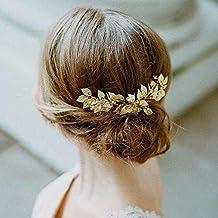 Aukmla fascia nuziale per capelli con foglie di vite e strass, color oro,  vintage