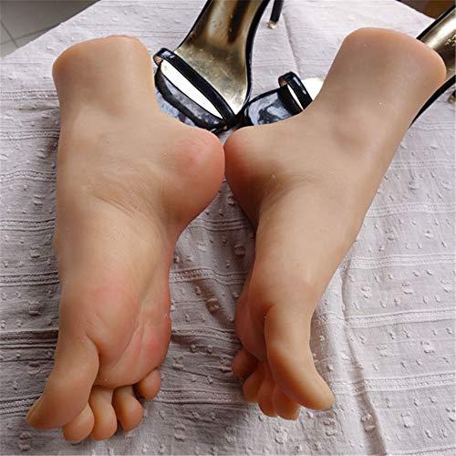 FW-FOOT Silikon Mannequin Fuß, Simulation Schönheit Fußprothese, hohe realistische Fußform Fußsockenform, weiches Silikon 1: 1 reales Fußmodell schönes Fußmodell kann gebogen Werden