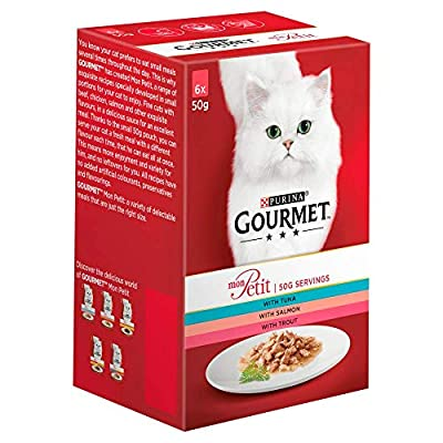 Gourmet Adult Wet Cat Food Pouch Tuna/Salmon/Trout Pouch, 6 x 50 g - Pack of 8