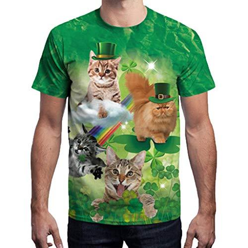 Zolimx Mode Herren T-shirt St. Patrick's Day Clover Printed Kurzarm O-Ausschnitt T Tops