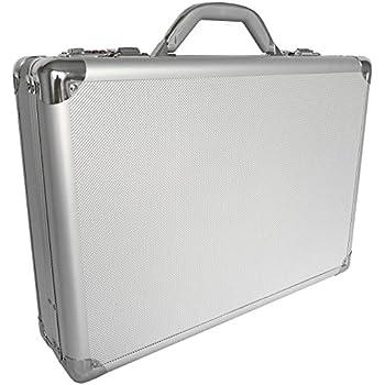 e86ed6c672 Pro aluminium grand mallette d'ordinateur portable attaché case rembourré,  argent