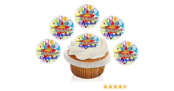 24 Father/'s Day Edible Cup Cake Toppers Decorations Best Gramps In The World
