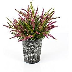 Künstliche Erika im Metalltopf, pink, 32 cm, Ø 25 cm - Kunstpflanze im Topf / Heidekraut künstlich - artplants
