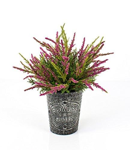 artplants Künstliche Erika im Metalltopf, pink, 32 cm, Ø 25 cm – Kunstpflanze im Topf/Heidekraut künstlich