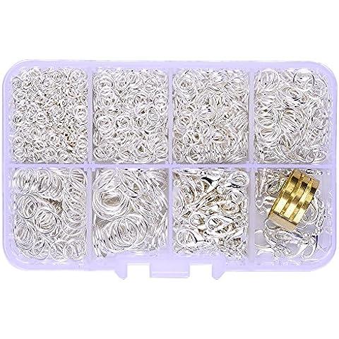 In una scatola (2000pcs/scatola) 100pezzi Placcato argento Kit con Lobster Claw Clasps 12mm e 1900pcs aperto Anelli 4mm, 5mm, 6mm, 7mm, 8mm, 10mm e anelli aperti per gioielli risultati