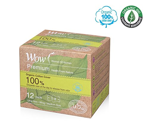 WOW Premium Damenbinden aus 100% USDA-zertifizierter Bio-Baumwolle, normale Medium, ultradünn, natürliche Sanitärservietten mit Flügeln, 25 cm, 12 insgesamt für empfindliche Haut