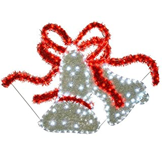 WeRChristmas Bells LED Rope Lights and Tinsel Silhouette Outdoor Garden Wall Christmas Decoration, 113 cm - Large, Multi-Colour